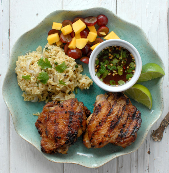 Grilled Thai-Style Chicken Thighs and Coconut Rice - BoulderLocavore.com 355
