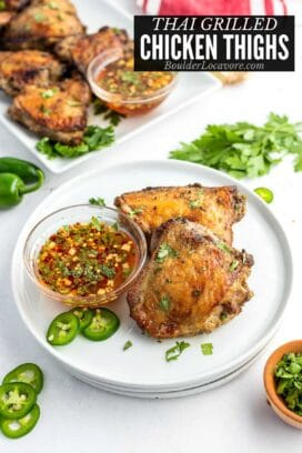 GRILLED CHICKEN THIGHS with dipping sauce and recipe title text