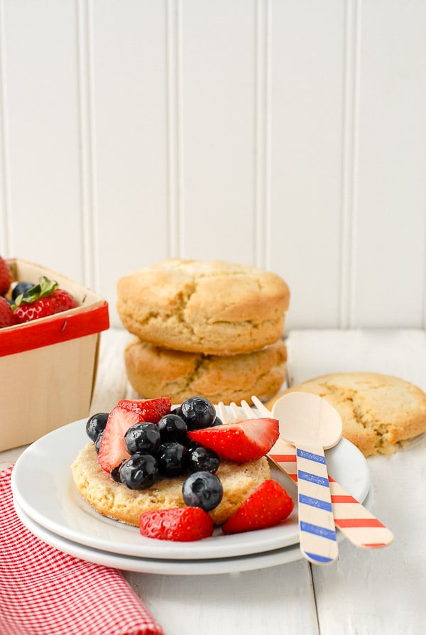 Red White & Blue Strawberrry Shortcake on plate