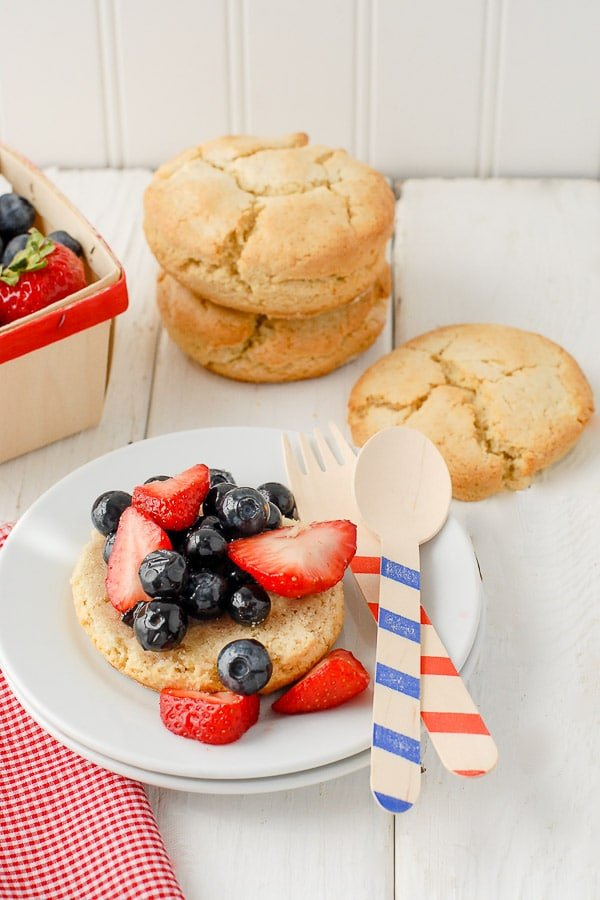 Berry shortcake dessert with red, white and blue utensils