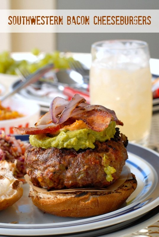 Southwestern Bacon Cheeseburgers. Beef, chorizo, green chile and cheese burger topped with grilled red onions and bacon! - BoulderLocavore.com