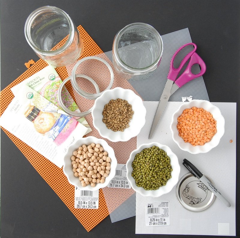 SUPPLIES to make Homemade Sprouting Jars and for sprouting.