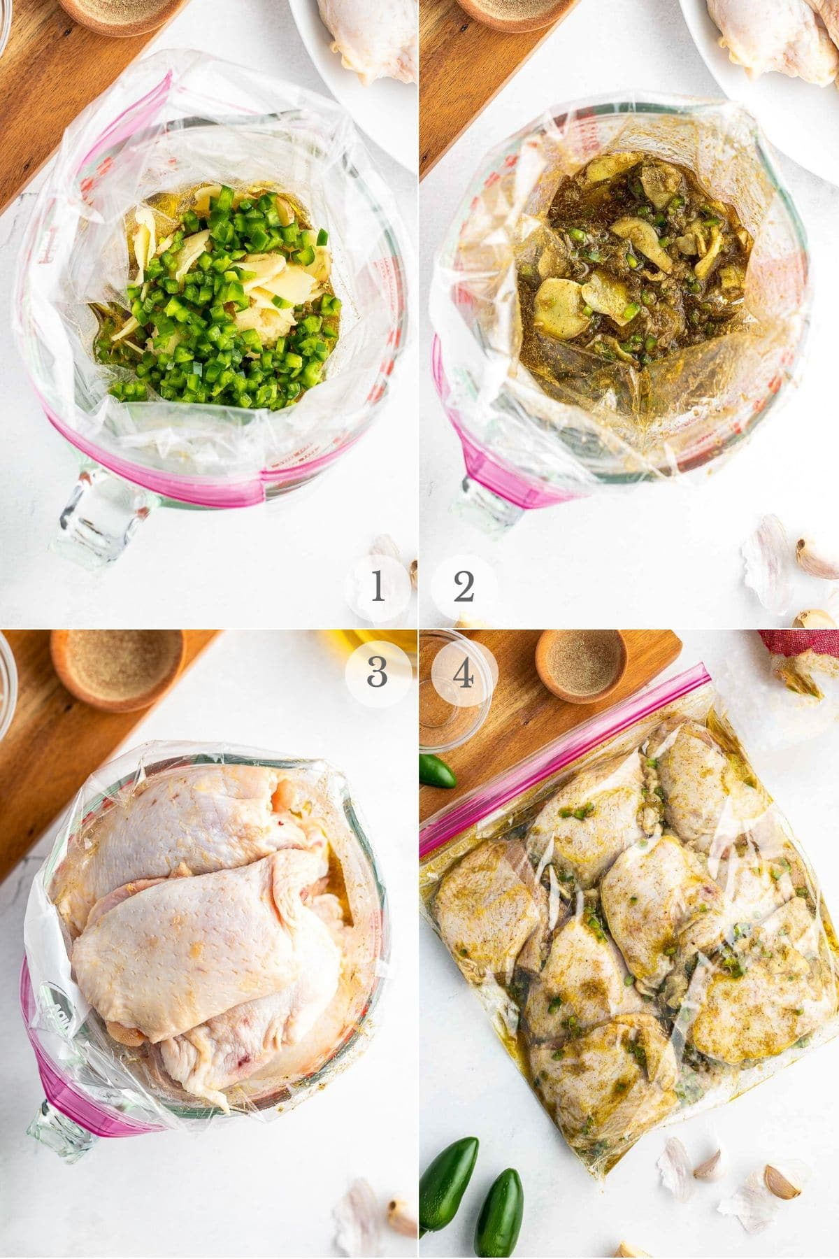 thai style marinade and chicken thighs recipe steps collage