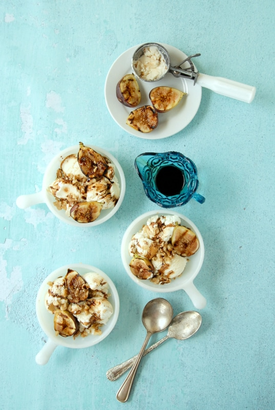 Grilled Figs, Walnuts & Honey-Mascarpone Ice Cream with Balsamic Drizzle - BoulderLocavore.com