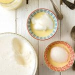 Lemony Snow Pudding with Rose Custard Sauce
