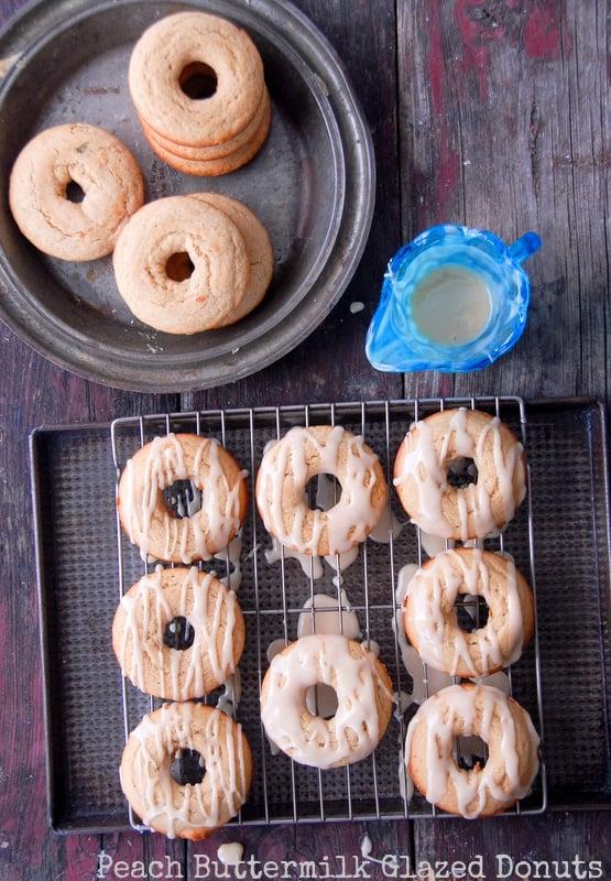 Peach Buttermilk Glazed Donuts {gluten-free}