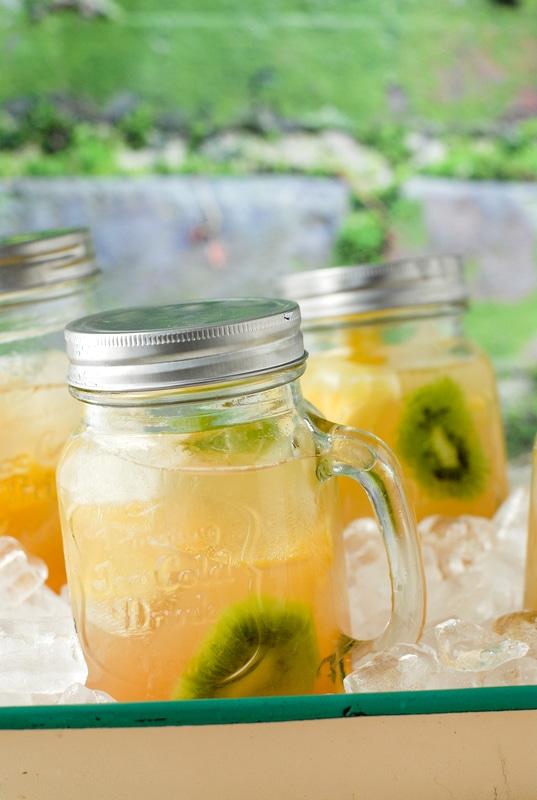 Tropical Fruit Sangria in Old Fashioned Mason Jar Mug - BoulderLocavore.com