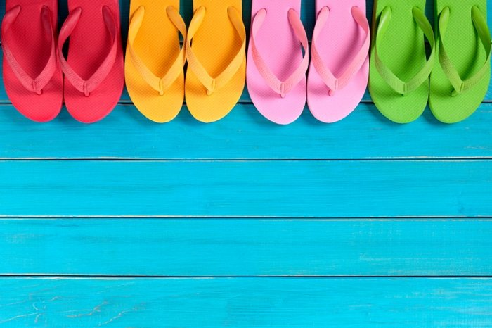 Flip flops with blue decking | BoulderLocavore.com