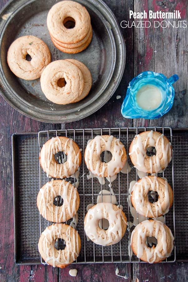 Gluten-Free Peach Buttermilk Glazed Donuts on rack