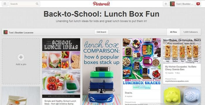 BoulderLocavore Pinterest Back-to-School: Lunch Box Board
