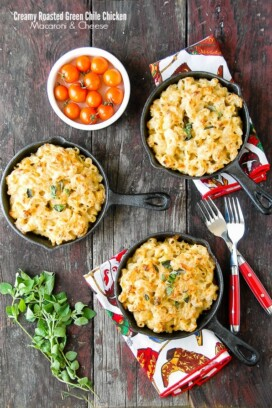 Creamy Roasted Green Chile Chicken Mac and Cheese in mini skillets