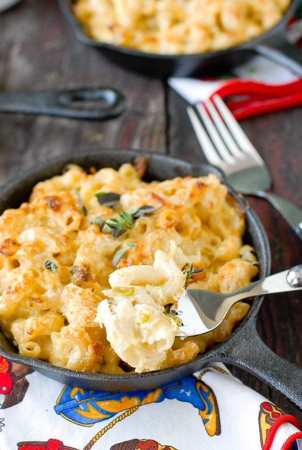 forkful of Creamy Roasted Green Chile Chicken Mac and Cheese