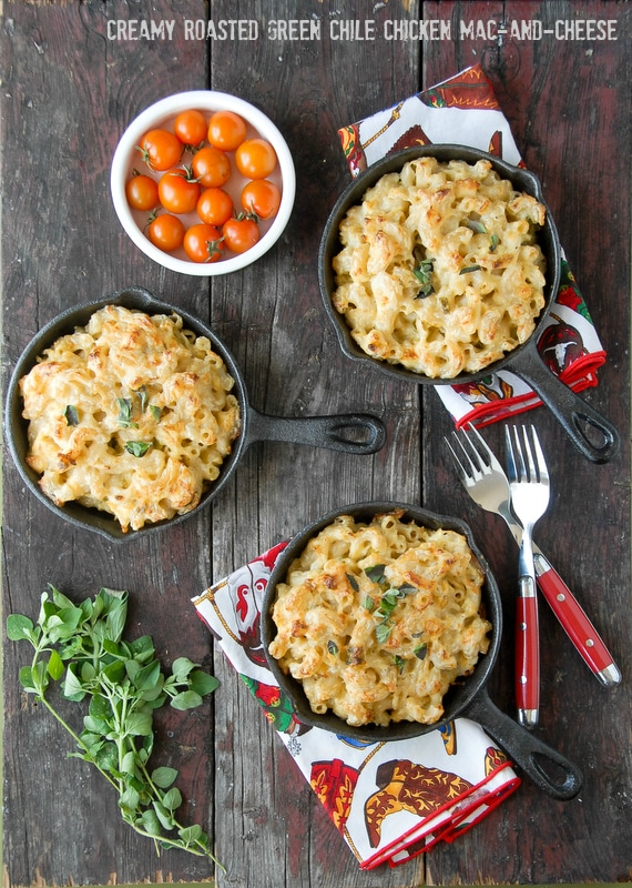 Roasted Green Chile Chicken Mac and Cheese overhead