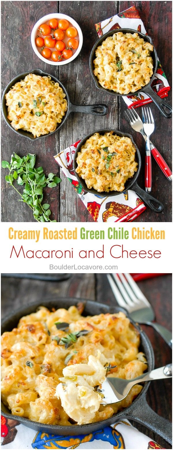 Creamy Roasted Green Chile Chicken Mac and Cheese collage