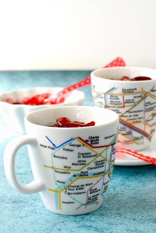 No Bake Vanilla Bean Pots de Creme with fresh Cherry Sauce in French Metro cups - BoulderLocavore.com