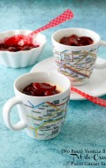 {No Bake} Vanilla Bean Pots de Creme with Fresh Cherry Sauce