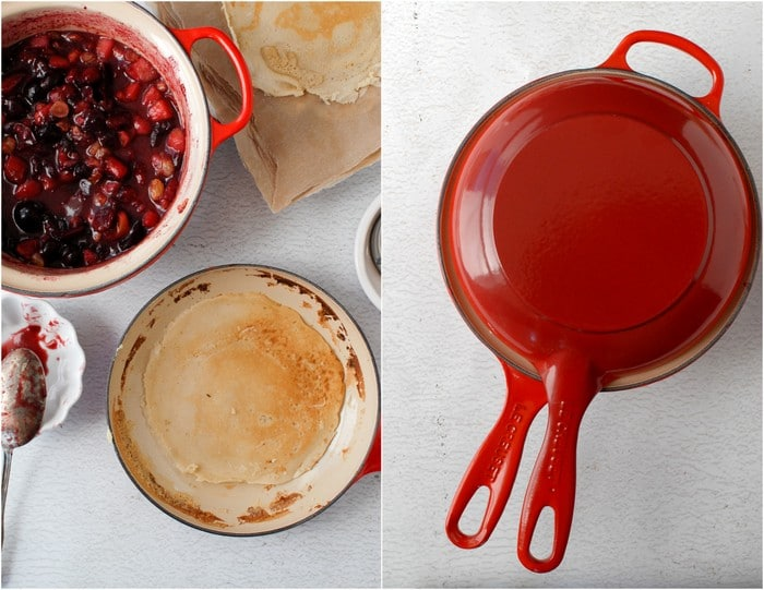 Fall-Spiced Pear and Cherry Crepes and Le Creuset 2-in-1 pan