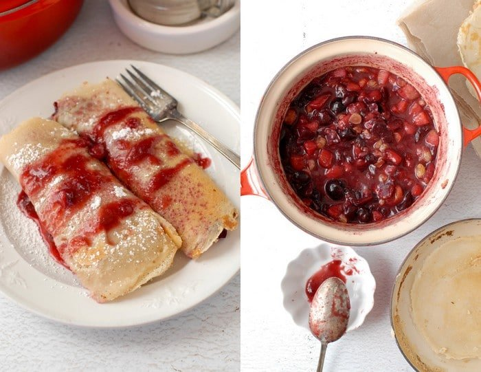 Fall-Spiced Pear and Cherry Crepes