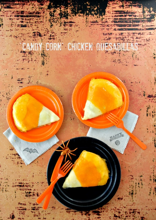 Candy Corn Chicken Quesadillas - BoulderLocavore.com