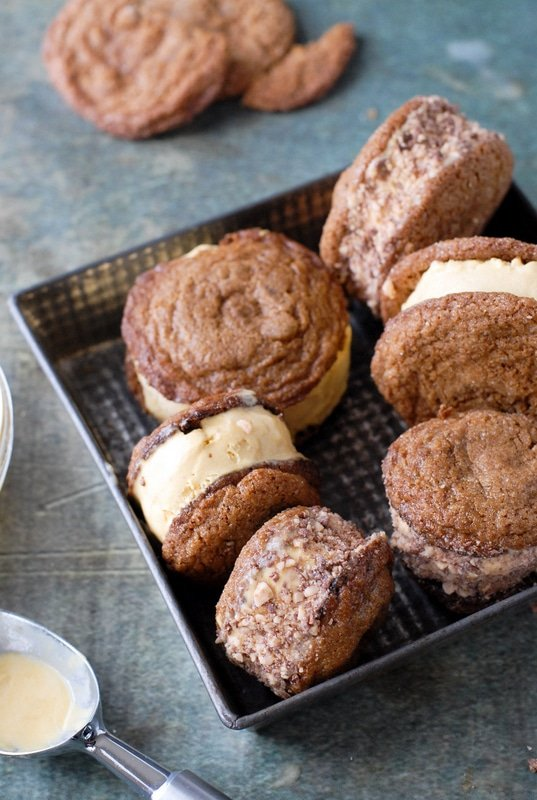 Chewy Ginger Snap Pumpkin-Salted Caramel Ice Cream Sandwiches with Heath Bar  - BoulderLocavore.com #dessert #fall