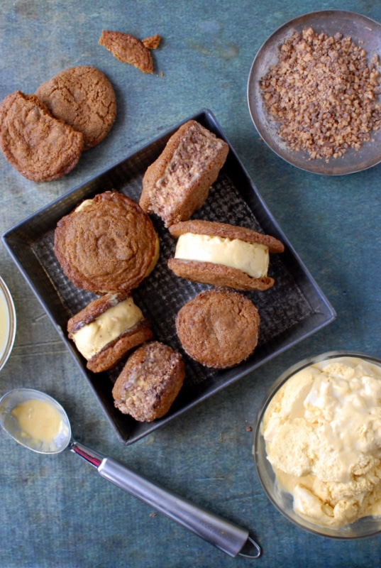 Chewy Ginger Snap Pumpkin-Salted Caramel Ice Cream Sandwiches with Heath Bar - BoulderLocavore.com