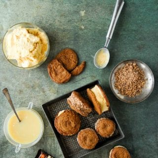 Chewy Ginger Snap Pumpkin-Salted Caramel Ice Cream Sandwiches with Heath Bar from above