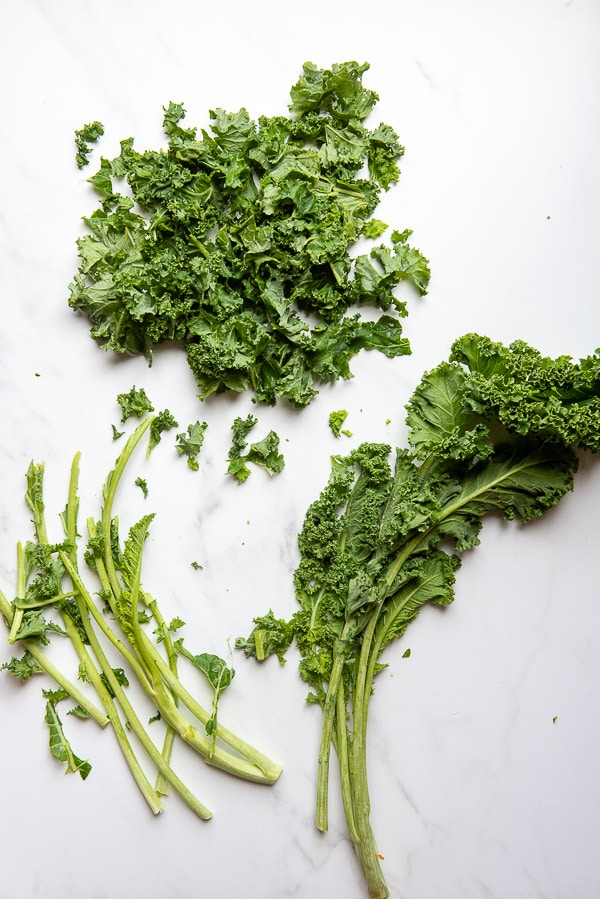 How to remove kale leaves from stem without a knife
