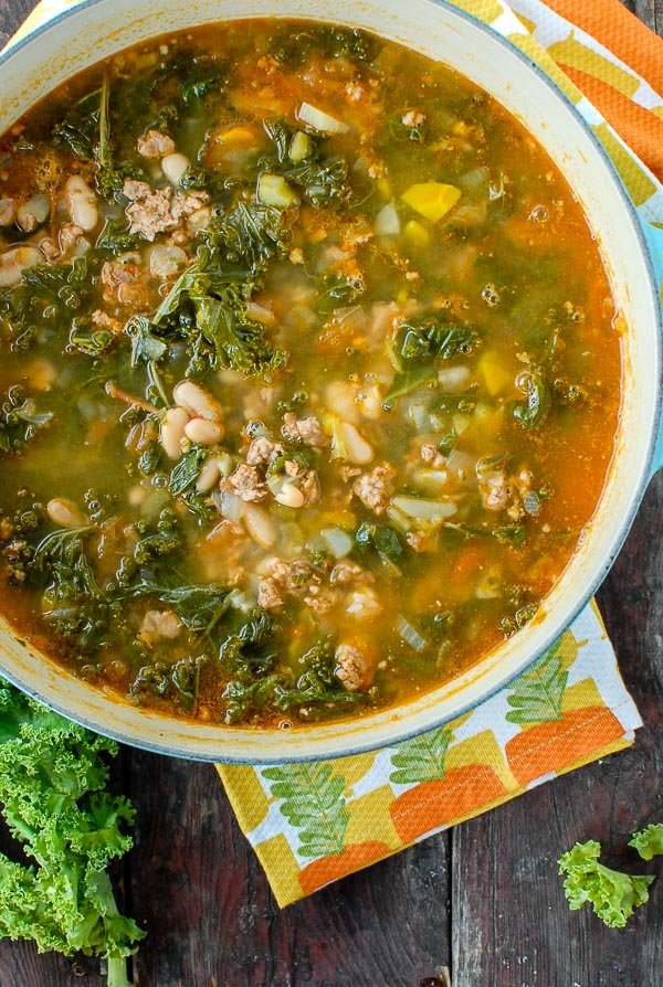 Close up photo of Peppery Sausage White Bean Kale Soup