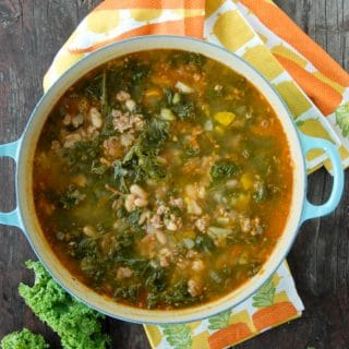 Peppery Sausage White Bean Kale Soup in stock pot