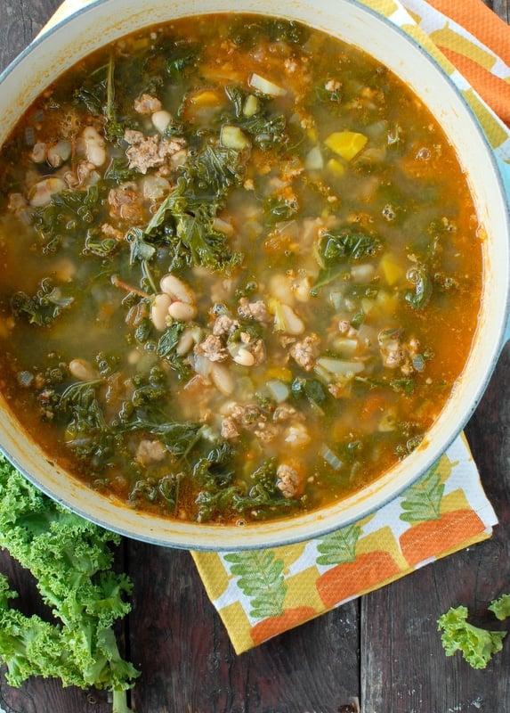 Peppery Sausage White Bean Kale Soup #soup #sausage - BoulderLocavore.com
