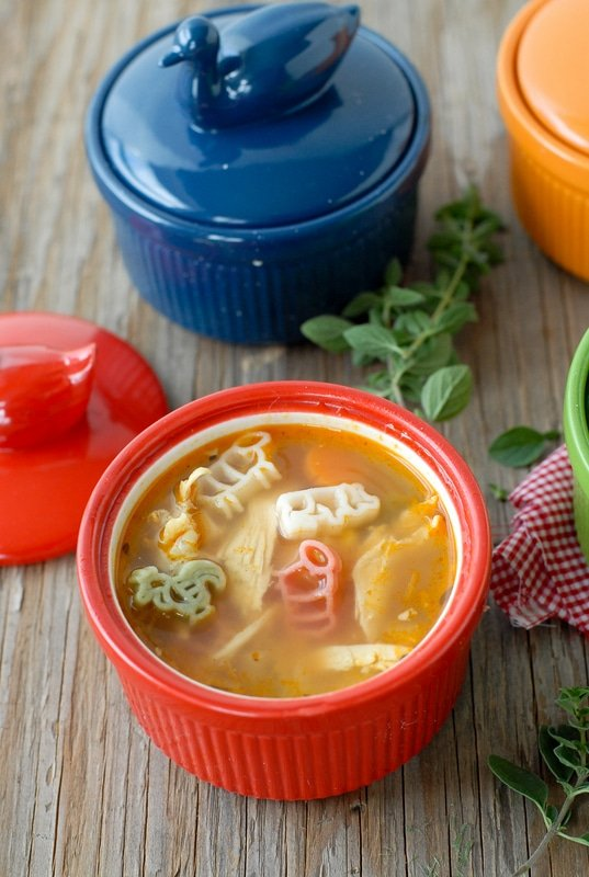 Farmhouse Chicken and Pasta Soup with Mini Grilled Cheese Sandwiches ...