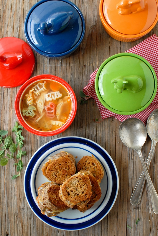Spicy Farmhouse Chicken and Pasta Soup Mini Baguette Grilled Cheese Sandwiches - BoulderLocavore.com