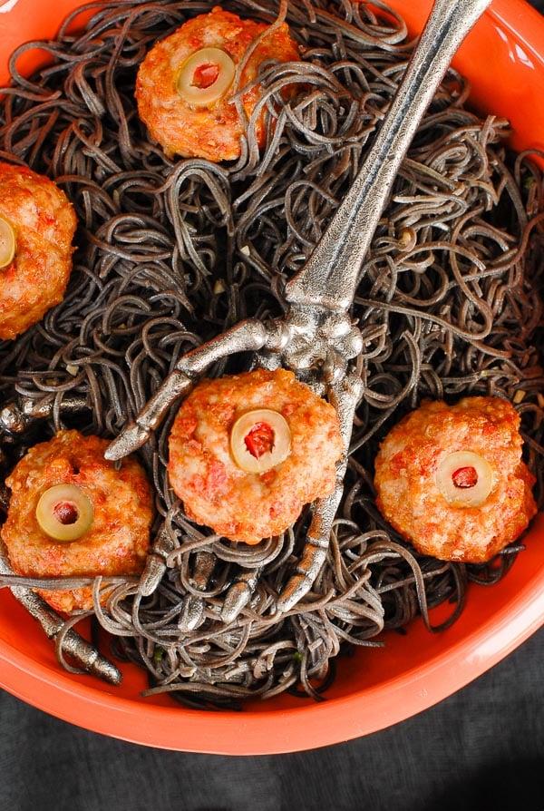Black Bean Pasta Halloween Dinner idea