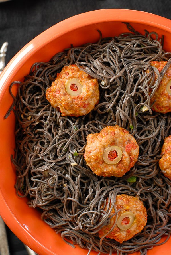 Black Bean Pasta Halloween Dinner idea close up
