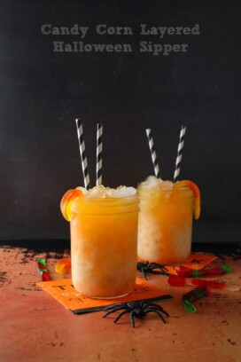 Candy Corn Layered Halloween Sipper layered drink