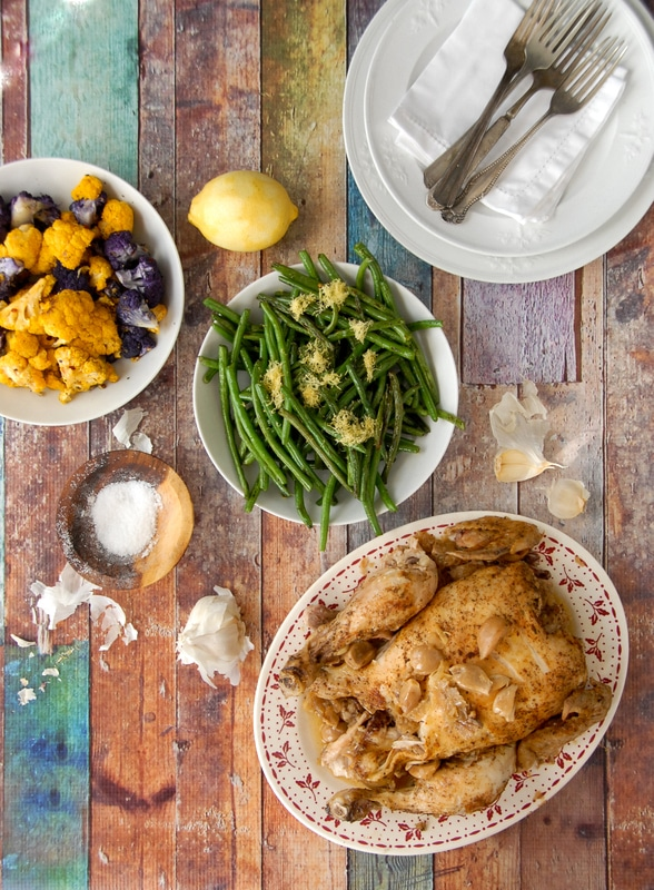 Crock Pot Garlic Chicken, Roasted Cauliflower, Sauteed Haricot Vert - BoulderLocavore.com