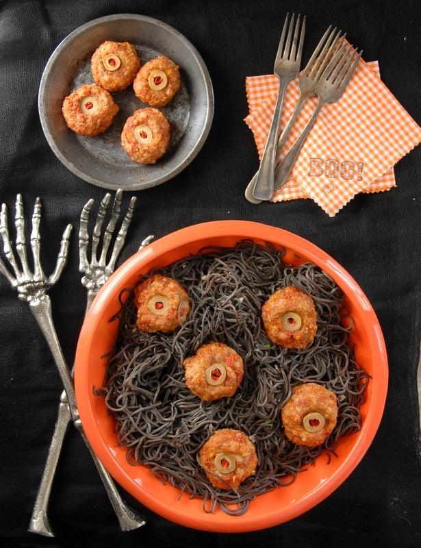 diablo eyeballs taco meatballs with black bean pasta boulderlocavorecom halloween