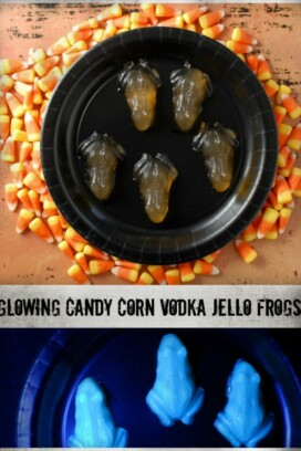 Glowing Candy Corn Vodka Jello Frogs (shots) collage