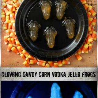 Glowing Candy Corn Vodka Jello Frogs (shots) | BoulderLocavore.com
