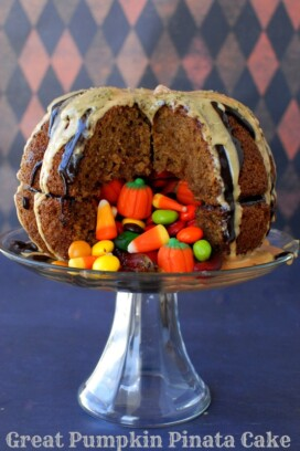 Great Pumpkin Pinata Cake with candy spilling out