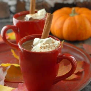 Pumpkin Mexican Hot Chocolate whipped cream and cinnamon stick