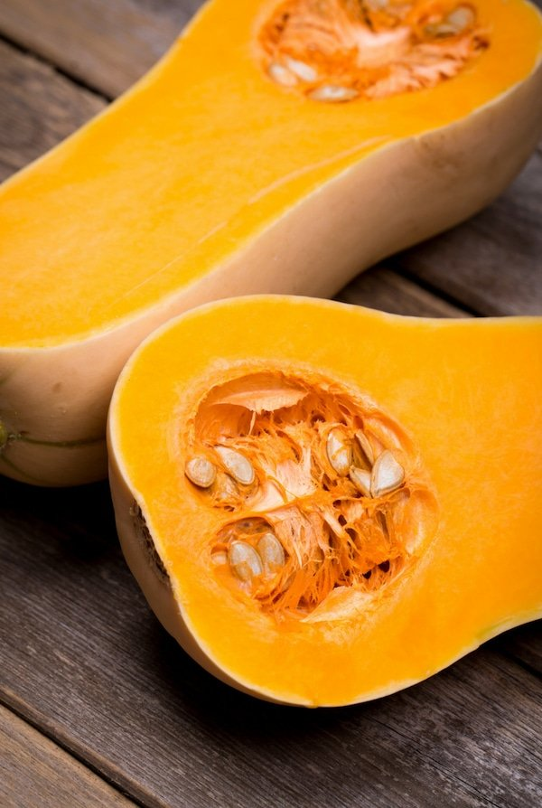 sliced butternut squashes