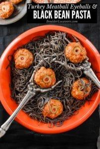 turkey meatball eyeballs & black bean pa