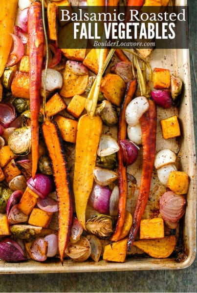 Balsamic Roasted Fall Vegetables with Sumac on a baking sheet