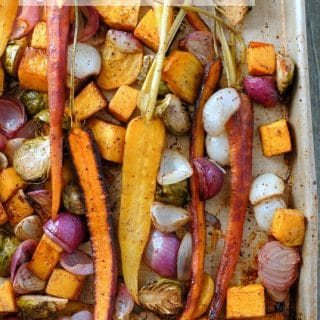 Balsamic Roasted Fall Vegetables with Sumac on baking sheet