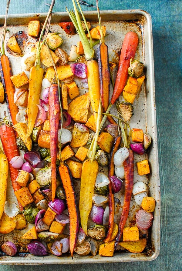baking sheet pan of roasted fall vegetables with sumac