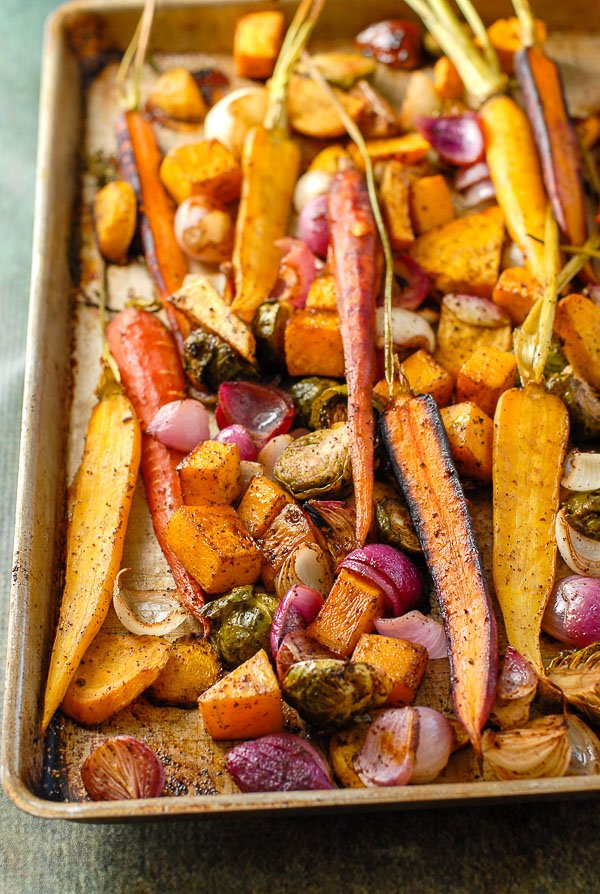 sheet pan of balsamic roasted fall vegetables hot out of the oven
