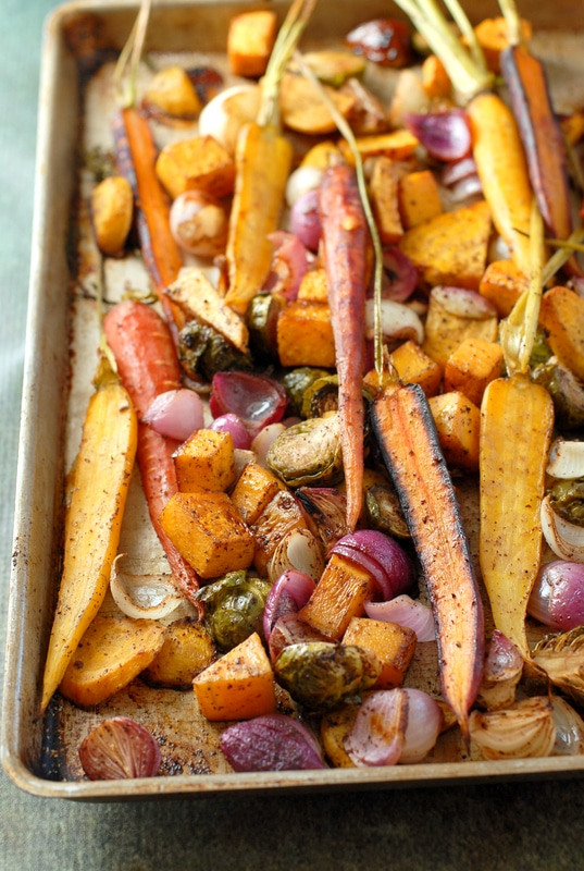 Balsamic Roasted Fall Vegetables with Sumac - BoulderLocavore.com #thanksgiving