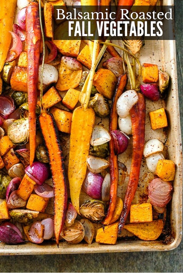 Balsamic Roasted Fall Vegetables with Sumac on a baking sheet titled image