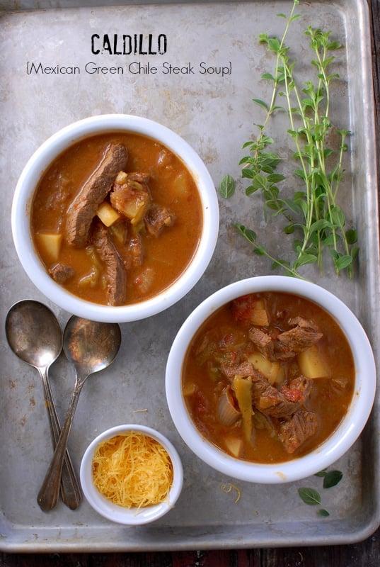 Caldillo {Mexican Green Chile Steak Soup}
